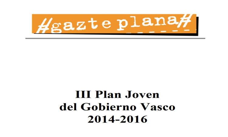 Portada del III Plan Joven del Gobierno Vasco (2014-2016)