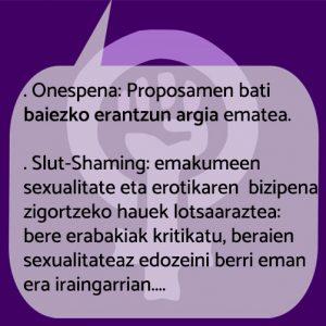 Testuan dauden onespena eta Slut-Shmaing kontzeptuen definizioa