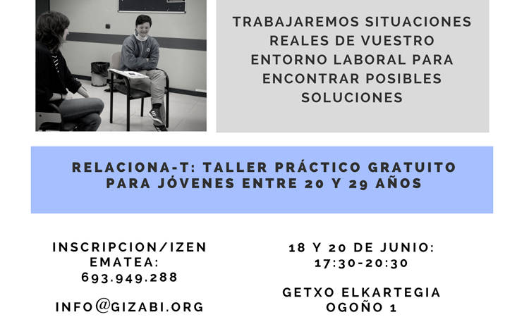 Relaciona-T: Taller práctico gratuito para personas jóvenes entre 20 y 29 años