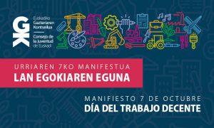 Gazteok Lan Egokiak nahi, behar eta merezi ditugu. Las personas jóvenes queremos, necesitamos y nos merecemos Trabajos Decentes - Euskadiko Gazteriaren Kontseilua (EGK)